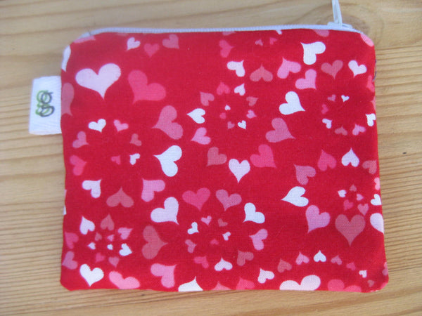 Padded Zip Pouch purse Gadget Coin Case - Valentines day spiral hearts love - groovygurls