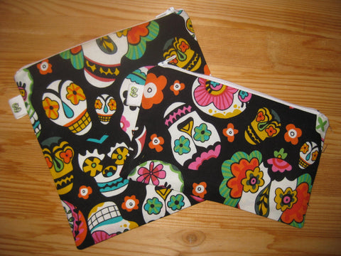 Reusable Zipper Sandwich & Snack Bags BPA Free Eco Friendly  Set of 2 Calavera Sugar Skulls Dia de los Muertos Day of the Dead - groovygurls