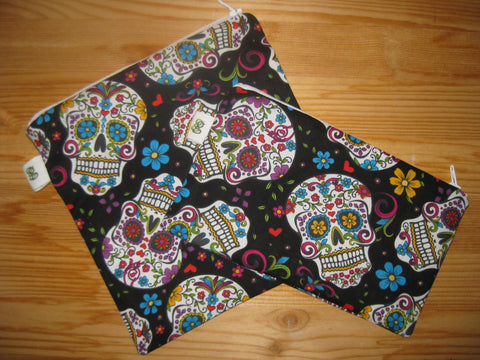 Reuse Zipper Sandwich & Snack Bags BPA Free Eco Friendly  Set of 2 Calavera Sugar Skulls Dia de los Muertos Day of the Dead