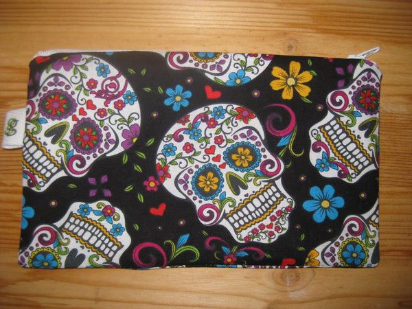 Reuse Zipper Sandwich & Snack Bags BPA Free Eco Friendly  Set of 2 Calavera Sugar Skulls Dia de los Muertos Day of the Dead - groovygurls