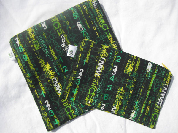 Reusable Zipper Sandwich & Snack Bags  Eco Friendly Matrix Code Math Pattern - groovygurls