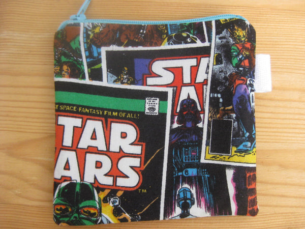 Padded Zip Pouch purse Gadget Coin Case - Star Wars Empire Strikes Back Darth Vader Lightsaber Character print - groovygurls