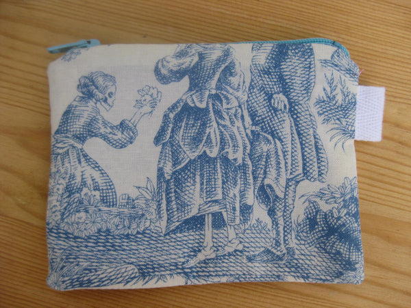 Padded Zip Pouch purse Gadget Coin Case - Day of the Dead Toile blue print - groovygurls