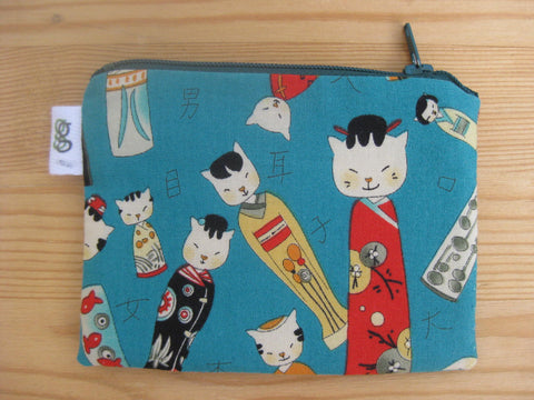 Padded Zip Pouch purse Gadget Coin Case - turquoise Japanese Kokeshi cats neko print
