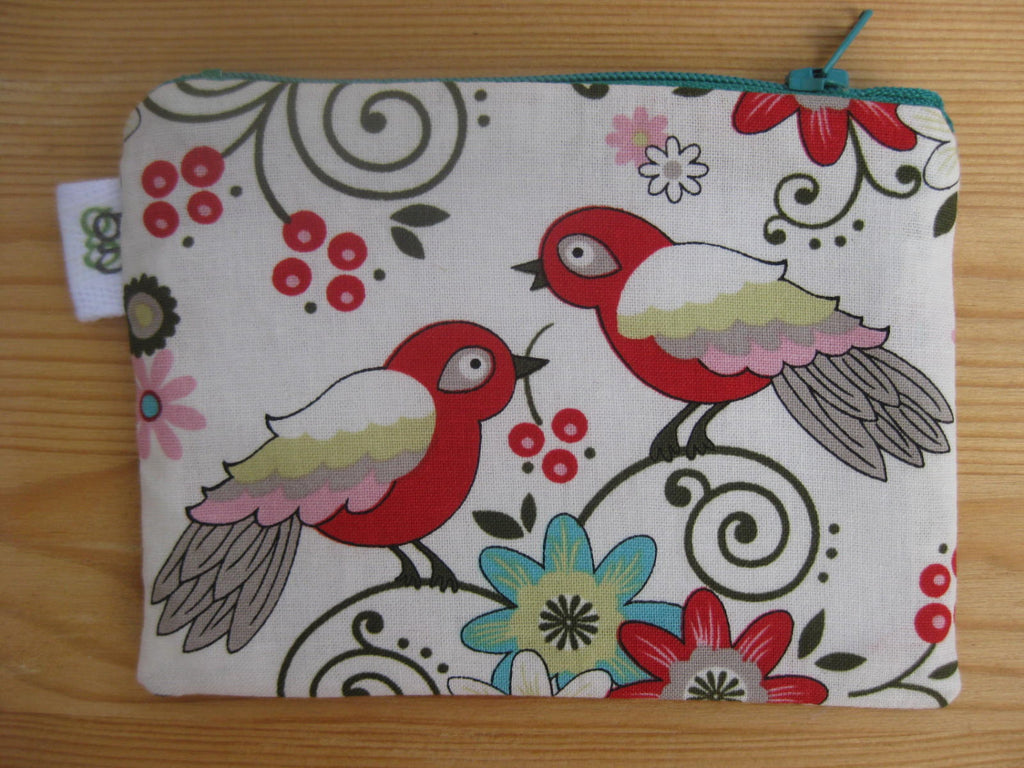 Padded Zip Pouch purse Gadget Coin Case - love birds print