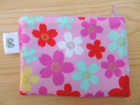 Padded Zippered Pouch purse Gadget Coin /accessory Case - pink cherry blossoms Japanese print