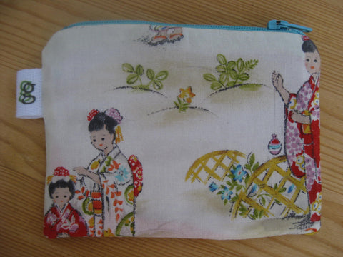 Padded Zip Pouch purse Gadget Coin Case - vintage style japanese girl geisha print