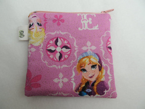 Padded Zip Pouch purse Gadget Coin Case - Frozen Anna and Elsa Character Pink Sparkle Print - groovygurls