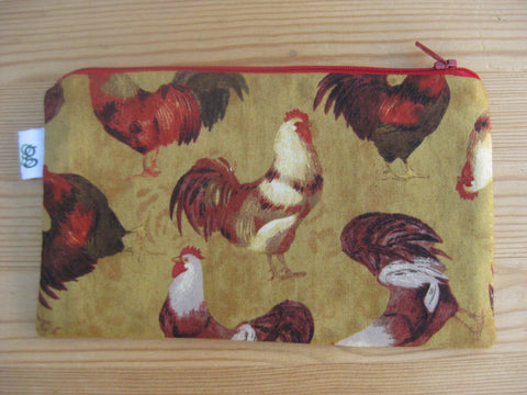 Chicken Rooster Egg Farm Print Zipper Pouch / Make Up Bag / Gadget Pouch Unique organizer - groovygurls