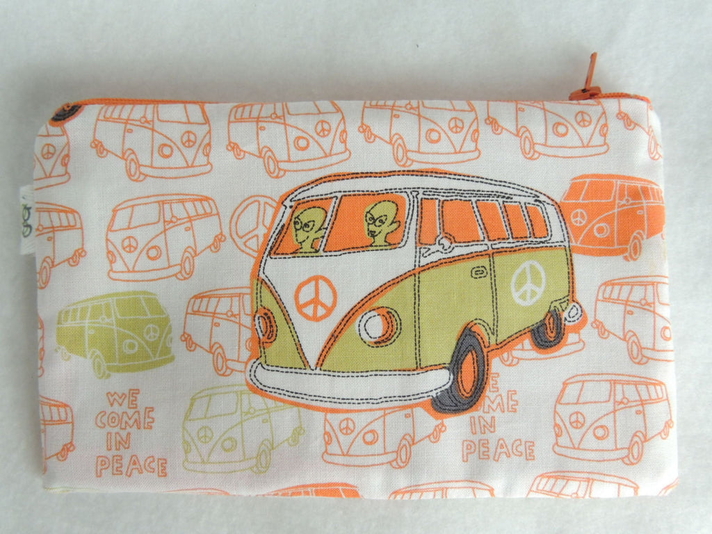 Aliens driving Westfalia camper Print Zipper Pouch / Make Up Bag / Gadget Pouch Unique organizer - groovygurls