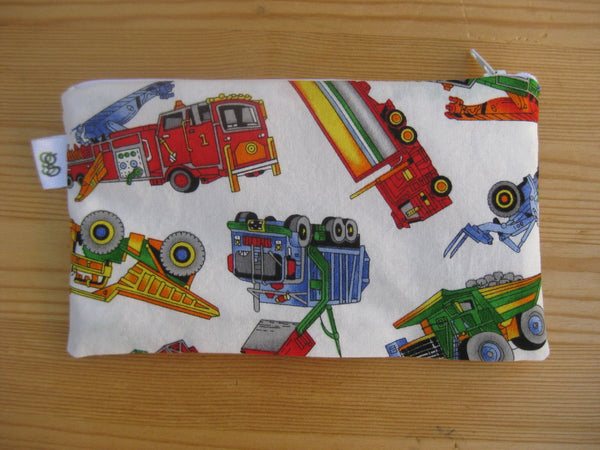 Fire Truck and Dump truck vehicles print  Reusable Zipper Snack Bag BPA Free Eco-Friendly