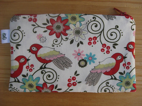 Love Birds and Flowers Print Zipper Pouch / Make Up Bag / Gadget Pouch Unique organizer