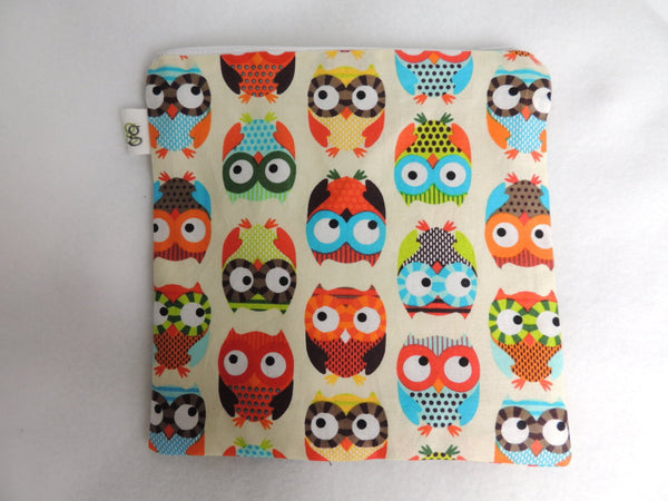 Reusable Zipper Sandwich & Snack Bags Eco-Friendly Set of 2 Owls print - groovygurls