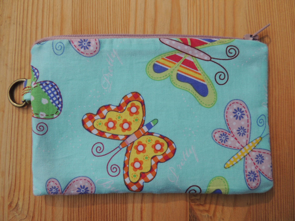 Zippered Coin Purse Wallet Organizer - Butterflys Whimsical Print - groovygurls