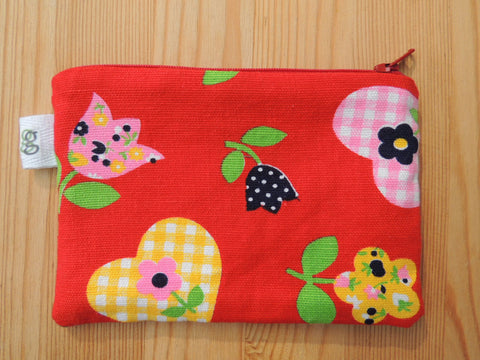 Coin Purse  - Vintage Flower Print - tulips and hearts