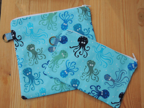 Reusable Zipper Sandwich & Snack Bags BPA Free Eco Friendly Set of 2 Octopus sea world print