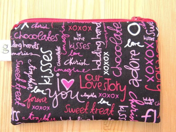 Zippered Coin Purse Wallet Organizer - Romantic Valentines Day Kisses and words - groovygurls