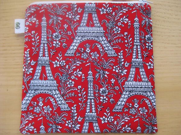 Reusable Zipper Sandwich & Snack Bags pouch BPA Free Eco Friendly Set of 2 Paris Eiffel Tower print