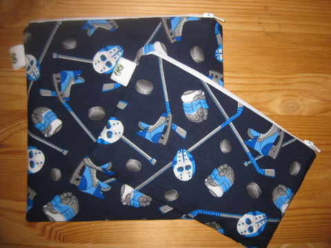Reuse Zipper Lunch Sandwich & Snack Bags Eco Friendly Set of 2 Hockey Goalie Print Boys Men Hockey Mom Helper - groovygurls