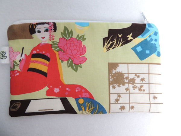 Reusable Zipper Sandwich and Snack Holder Eco-Friendly Graceful Kawaii Japanese Geisha Kimono Asian Print - groovygurls