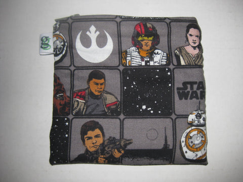 Padded Zip Pouch purse Gadget Coin Case - Star Wars The Force Awakens BB-8 Luke Skywalker Captain Phasma Queen Leia Character print - groovygurls