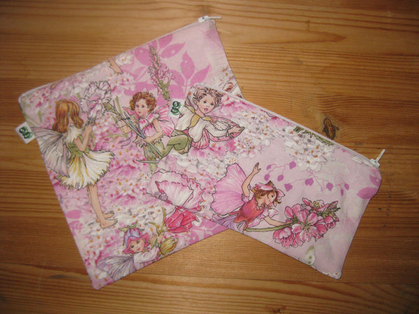 Reusable Zipper Sandwich & Snack Bags BPA Free Eco Friendly Set of 2 pink lavender Girly Garden Fairies fairy print - groovygurls