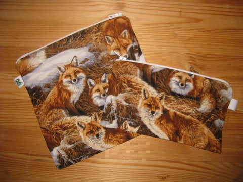 Reusable Zipper Sandwich & Snack Bags Eco Friendly Set of 2 Foxes Fox Animal Print