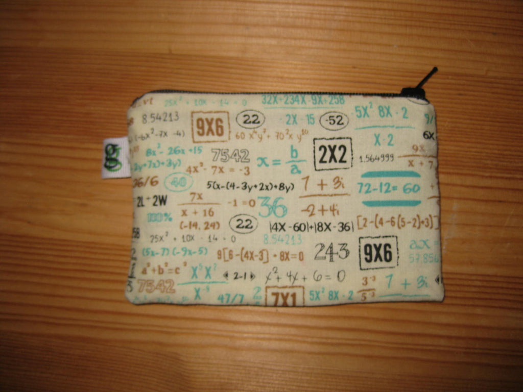 Padded Zip Pouch purse Gadget Coin Case - Math Mathematics Geekery print - groovygurls
