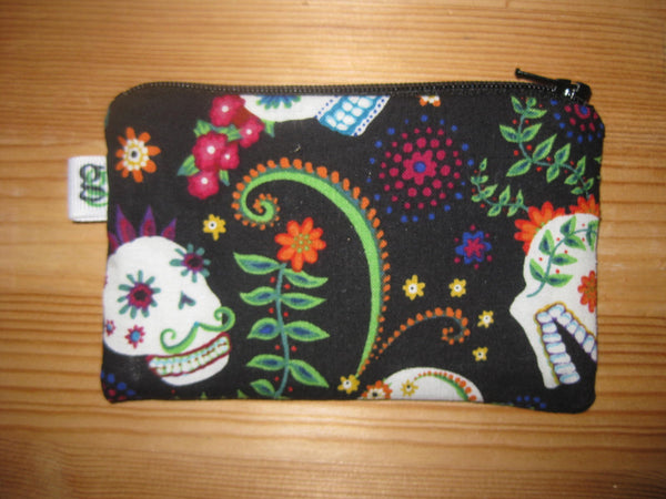 Padded Zip Pouch purse Gadget Coin Case - Day of the Dead suger skulls print