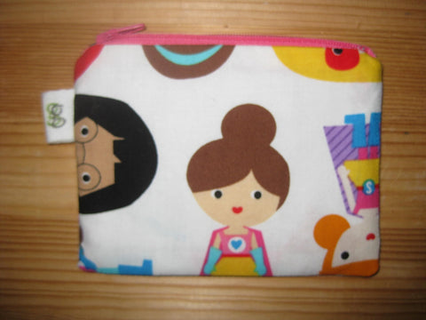 Padded Zip Pouch purse Gadget Coin Case - Girly Girl superhero print - groovygurls