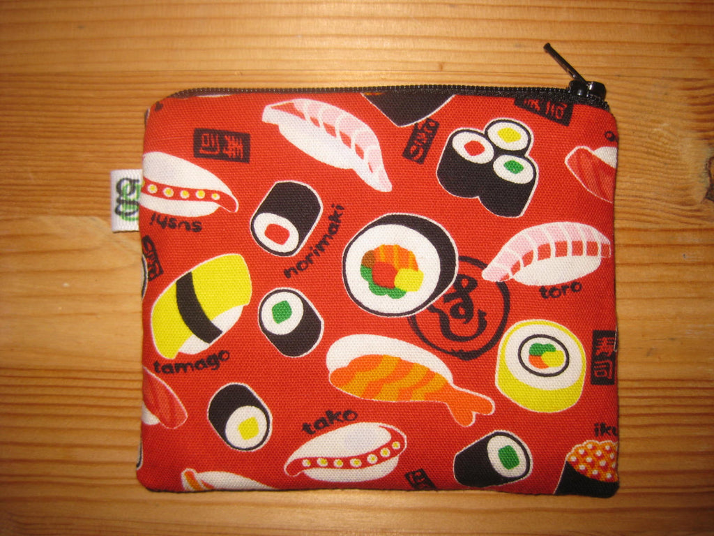 Padded Zip Pouch purse Gadget Coin Case - Red Japanese Sushi tamago california roll asian print - groovygurls