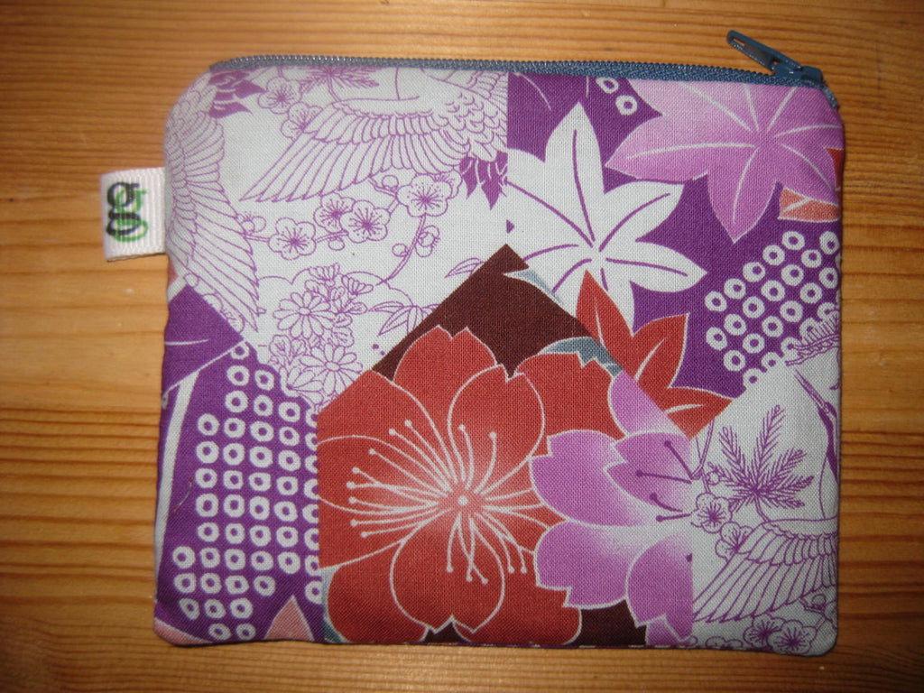 Padded Zip Pouch purse Gadget Coin Case - Purple and Pink Cherry Blossoms print