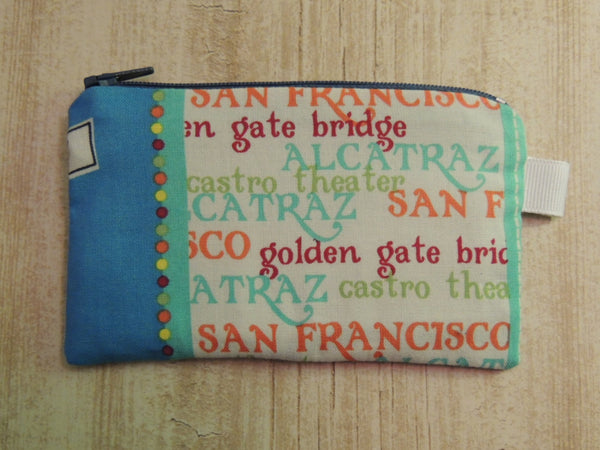 Padded Zip Pouch purse Gadget Coin Case - San Francisco Cable car print - groovygurls