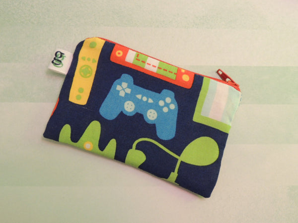 Padded Zip Pouch purse Gadget Coin Case - Video game controller print - groovygurls