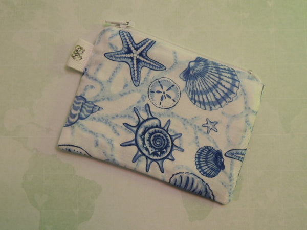 Padded Zippered Pouch purse Gadget Coin/Accessory Case - Seashells print - groovygurls