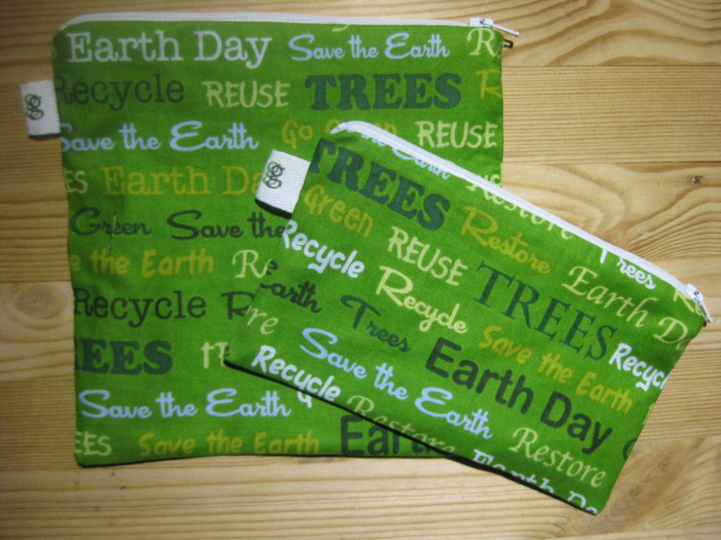 Back to School Reusable Zipper Sandwich & Snack Bags BPA Free Eco Friendly Set of 2 Earth day April 22 Save the Earth Recycle - groovygurls