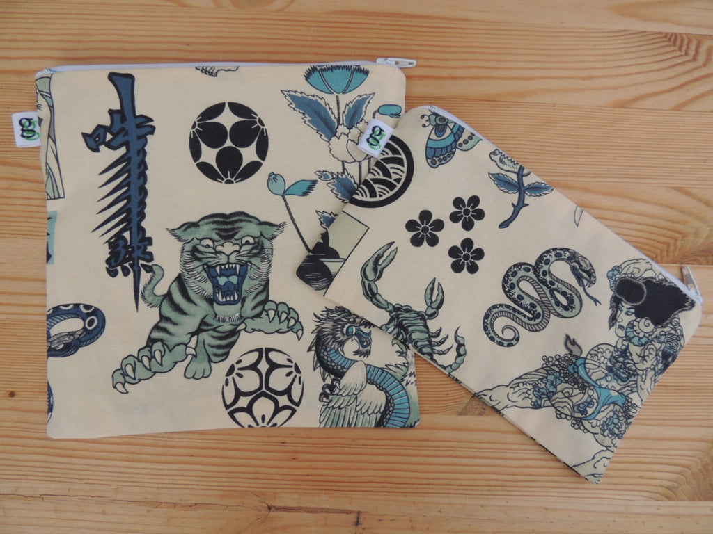 Reusable Zipper Sandwich and Snack bags Eco Friendly Set of 2 Japanese Tattoo asian geisha tiger ninja asian print - groovygurls