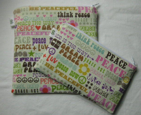 Reusable Zipper Sandwich & Snack Bags Eco Friendly Set of 2 Change Peace Think Dream Love Luv Print sku 1008 - groovygurls