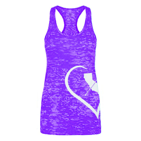 """i Heart Cali Paddler"" - Purple Racerback Tank-Top"