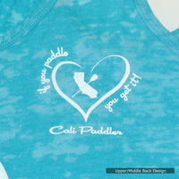 """i Heart Cali Paddler"" - Blue Racerback Tank-Top"