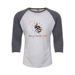 Time to Breathe Fire White-Grey Raglan (Unisex)
