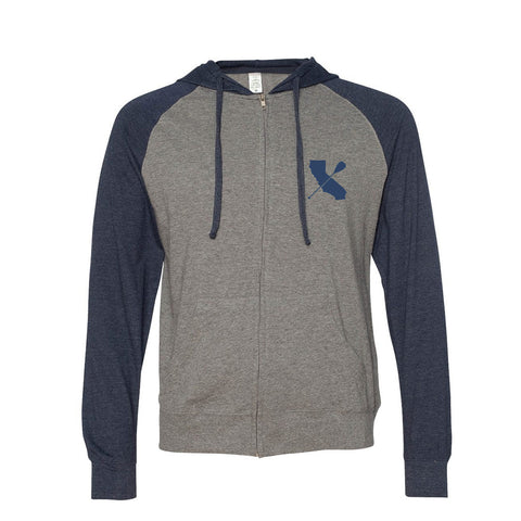 """CALI-PADDLER"" Lightweight Hooded Zip Raglan Sweatshirt"