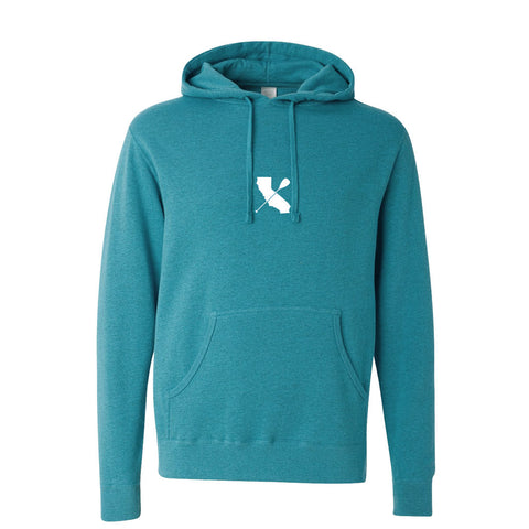 """CALI-PADDLER"" Hooded Pullover Sweatshirt Turquoise"