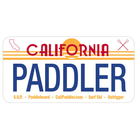 """Cali Paddler"" 80's Sunset License Plate Sticker"