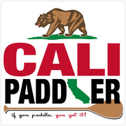 """Cali Paddler"" Bear and Paddle 2-Line Sticker"