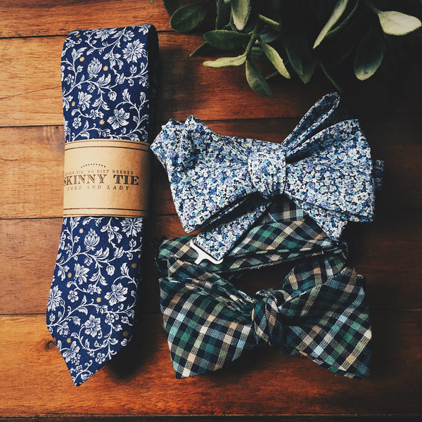 Indigo Manderly Skinny Tie - Lord and Lady
