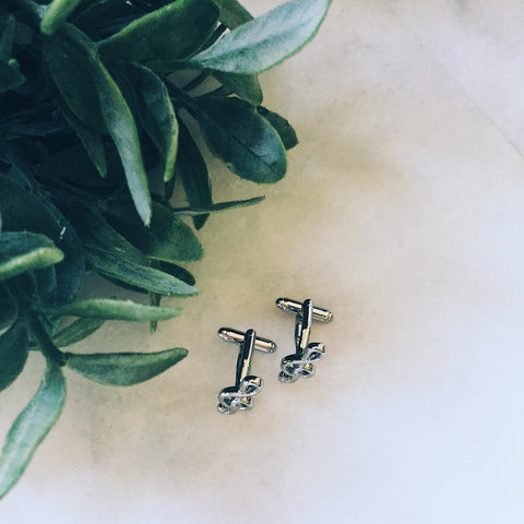 Music Note Cuff Links - Lord and Lady