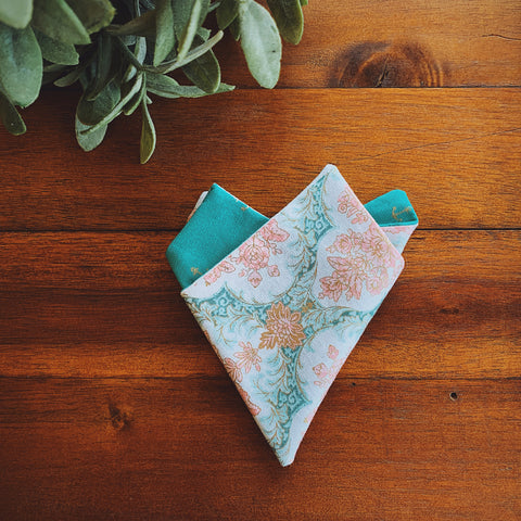 Little Man Pocket Square || Azure Anchors & Peach Damask || Lord and Lady