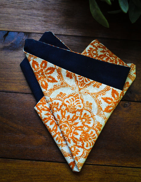 Auburn Damask Pocket Square