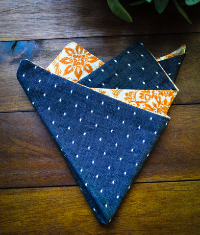 Indigo Pin Dot Pocket Square